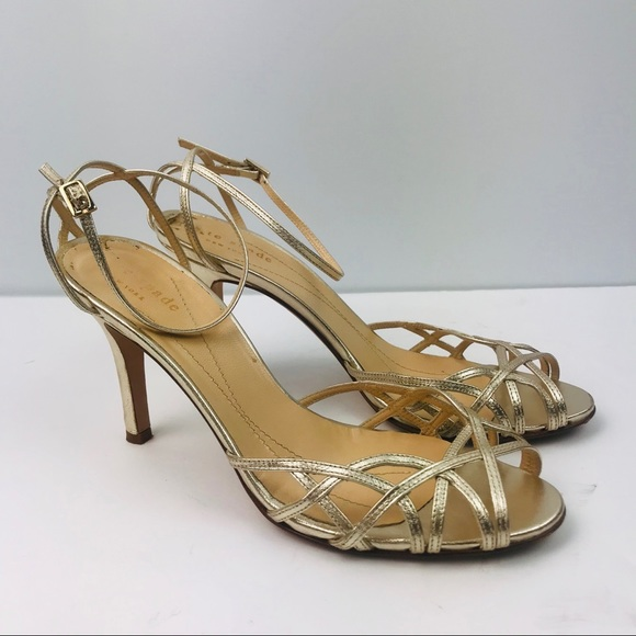 d6ed886acdc5 kate spade Shoes - Authentic Kate Spade Gold Strappy Heel Sandals